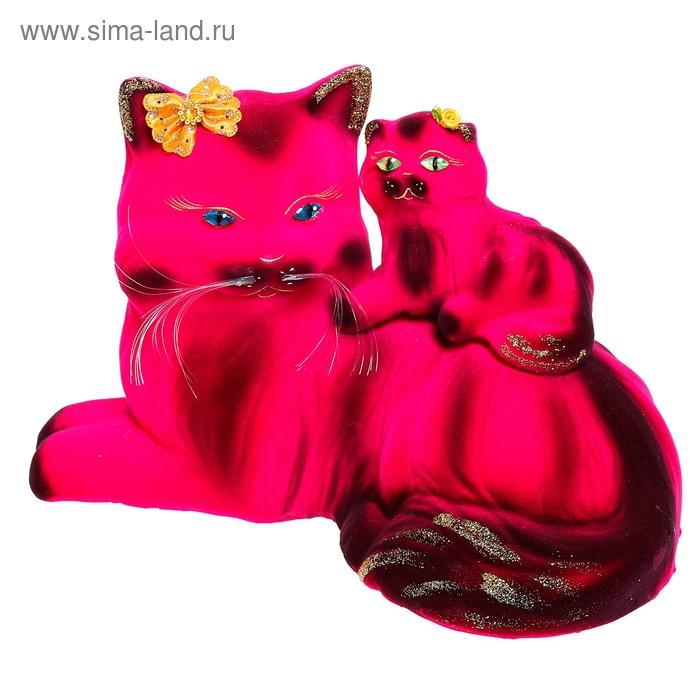 """Копилка """"Кошка с котёнком"""" перс, флок, малиновая"""