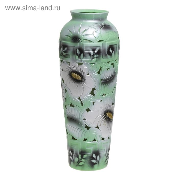 """Ваза напольная """"Арго"""" резная, зелёно-серебряная"""