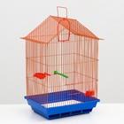 Клетка для птиц большая, крыша-домик (поилка, кормушка, жердочка, качель), 35 х 28 х 55 см