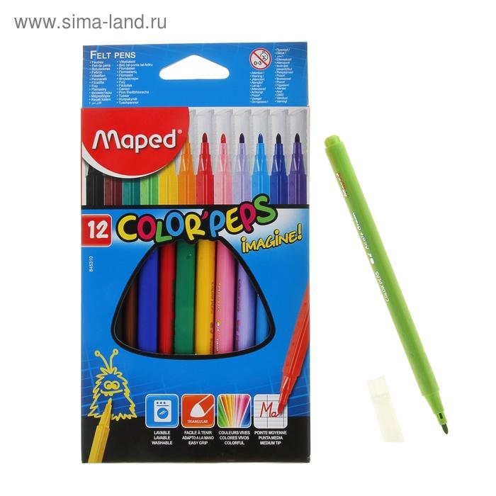 Фломастеры трехгранные 12 цветов IMAGINE, с заблокированным пишущим узлом