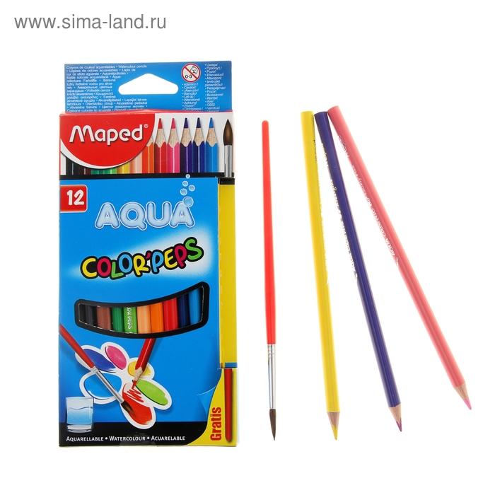 Карандаши акварельные 12 цветов Color Peps, с кистью
