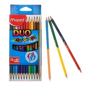 Карандаши двухцветные трехгранные 24цв (12шт) Color Peps, европодвес