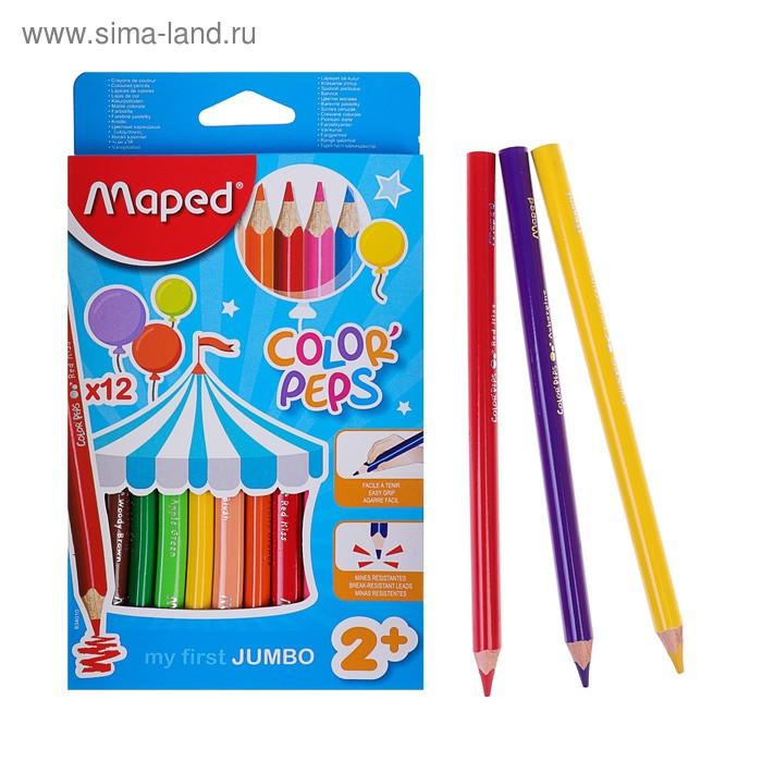 Карандаши утолщенные трехгранные 12 цветов Color Peps Maxi, европодвес