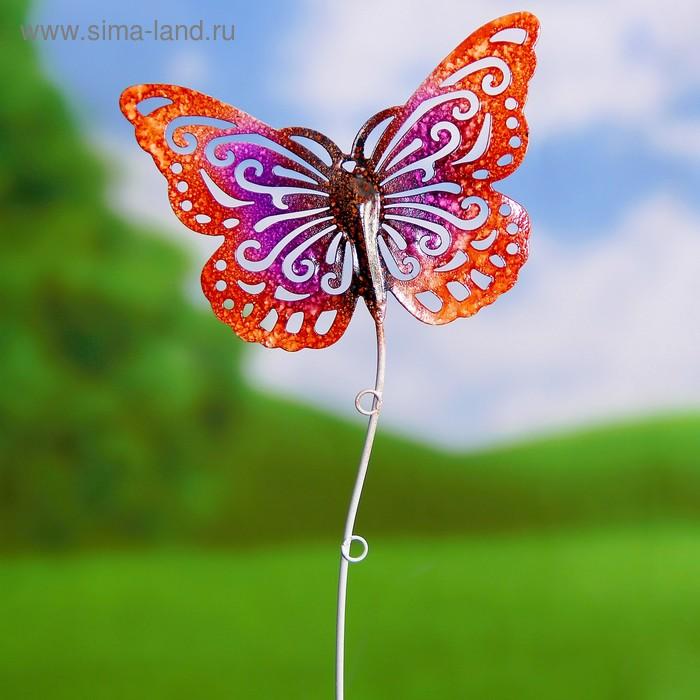 "Декоративный штекер ""Бабочка"" красно-розовая"