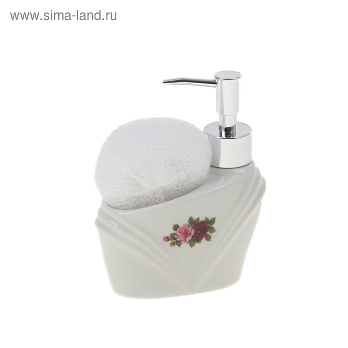 """Дозатор 250 мл """"Томная роза"""" для моющего средства, с губкой"""