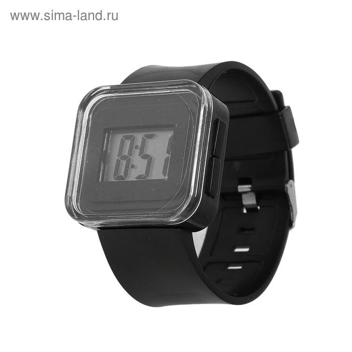 Часы наручные женские, электронные, с силиконовым ремешком, водостойкие, черные