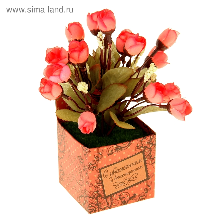 """Декоративный букет в подарочной коробке """"С уважением"""""""