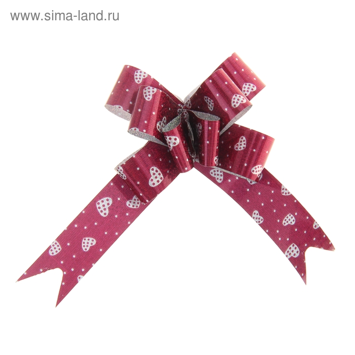 "Бант-бабочка № 1,2 ""Сердечки"", цвет бордовый"