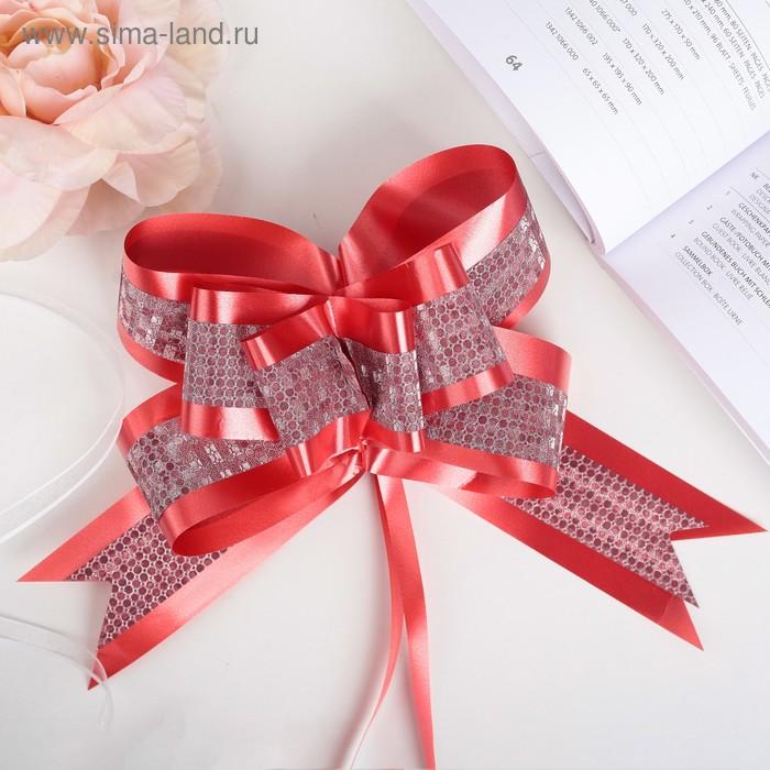 """Бант-бабочка №5 """"Фактурная полоса"""", цвет красный"""