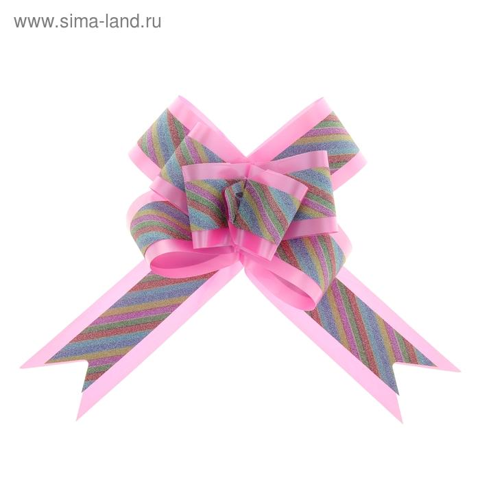 """Бант-бабочка №5 """"Радужные полосы"""", цвет розовый"""