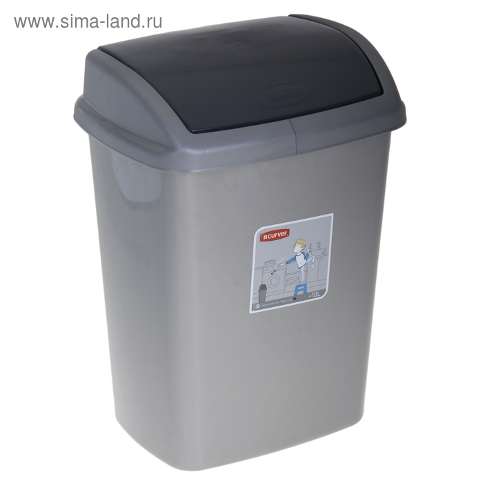 """Контейнер для мусора 10 л """"Доминик"""", цвет серебристый/графит"""
