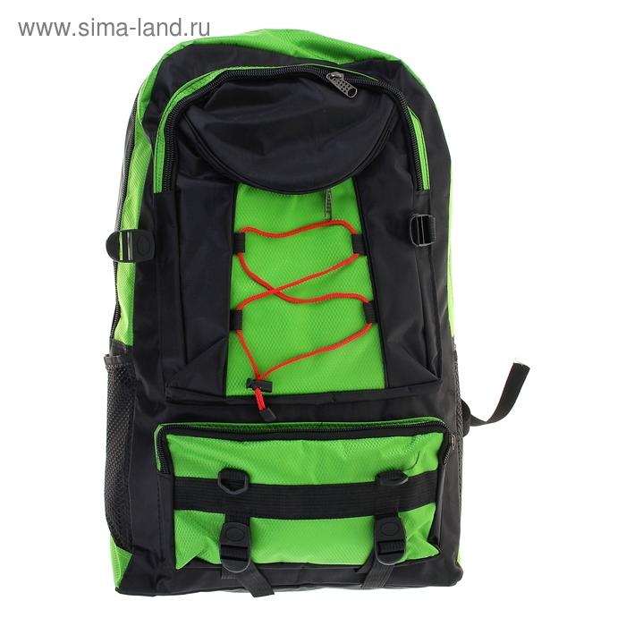 """Рюкзак туристический """"Шнурок"""", 1 отдел, 3 наружных и 2 боковых кармана, объём - 40л, чёрный/зелёный"""