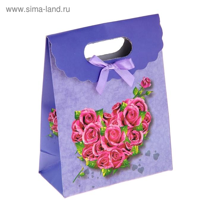 """Пакет с клапаном """"Сердце из роз"""", цвет фиолетовый"""