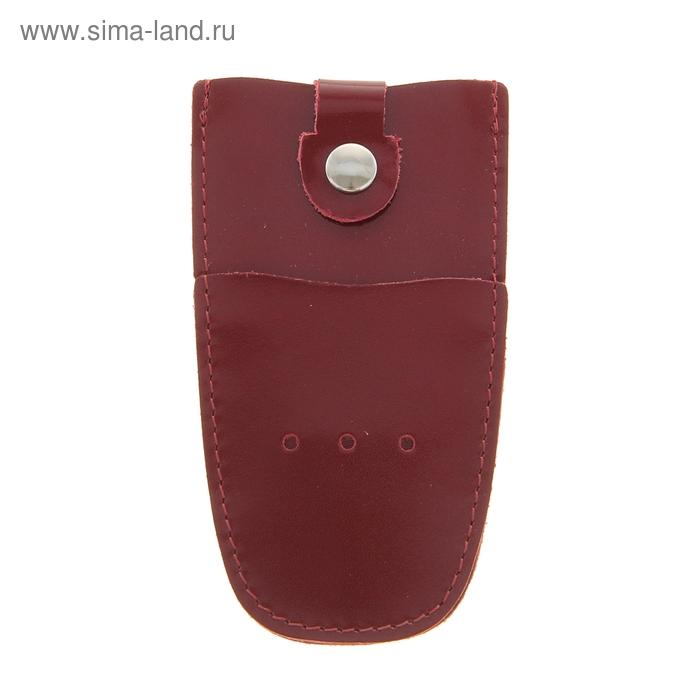 Ключница на кнопке, металлическое кольцо, бордовый глянцевый