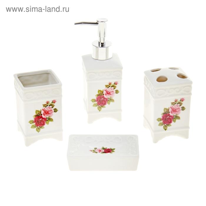 """Набор для ванной, 4 предмета """"Две розы"""""""