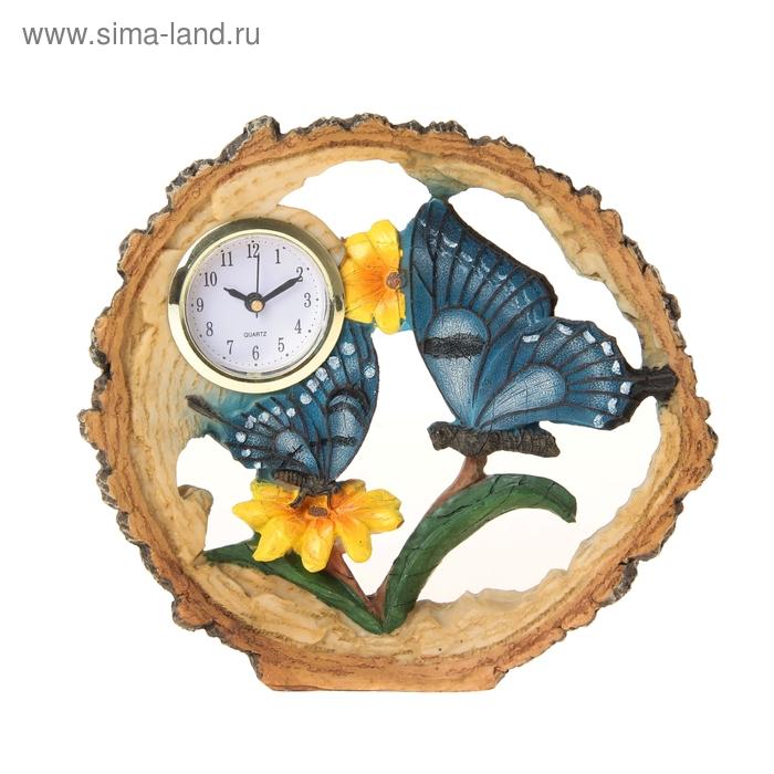 "Часы настольные ""Бабочка в цветах"""