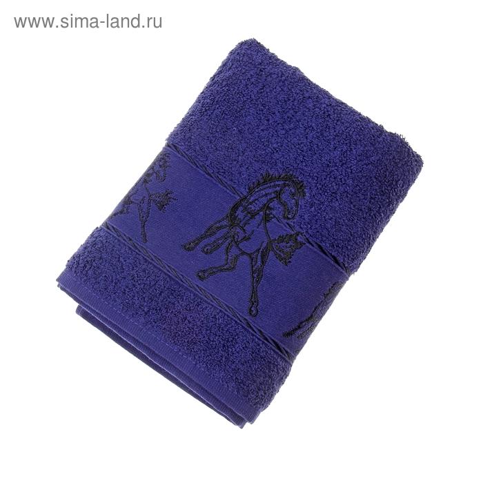 Полотенце махровое Fiesta Мустанг с вышивкой 50*90 см синий 500гр/м, хлопок 100%