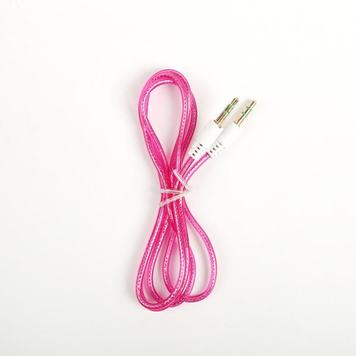 Провод аудио, AUX, штекер 3.5 – 3.5, 1 м, прозрачная оплётка, МИКС