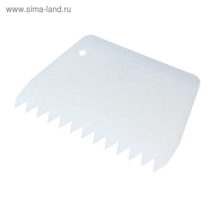 Шпатель кондитерский с зубцами 5 мм, 13,5х9,5 см