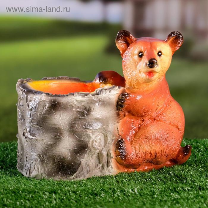 """Фигурное кашпо """"Медведь с пеньком"""""""