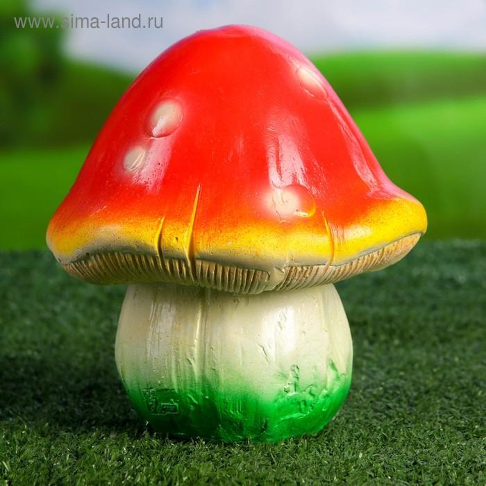 """Садовая фигура """"Гриб мухомор"""" красно-жёлтая шляпка, бело-зелёная ножка"""