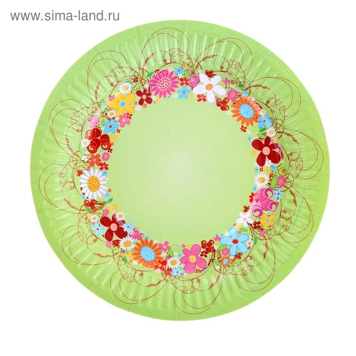"""Тарелка с ламинацией """"Цветочный венок"""" 18 см"""