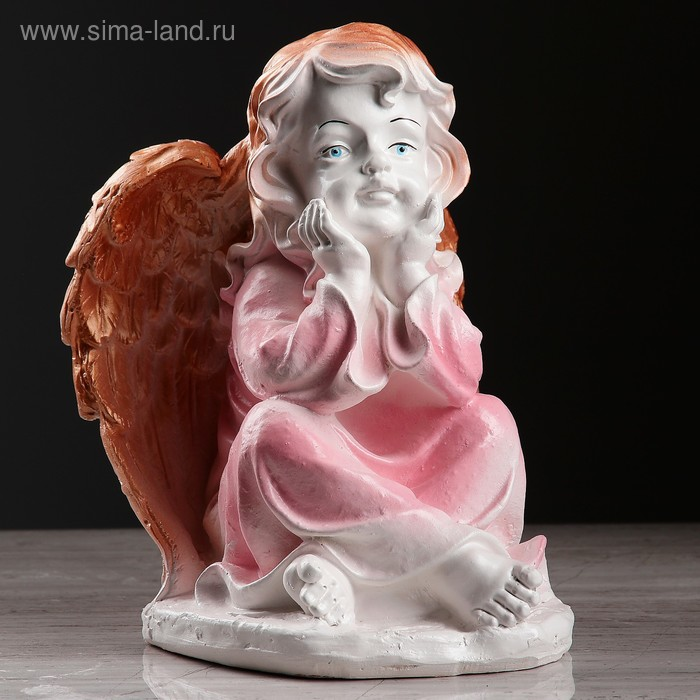 """Статуэтка """"Ангел в платье"""" сидя, бело-розовый"""