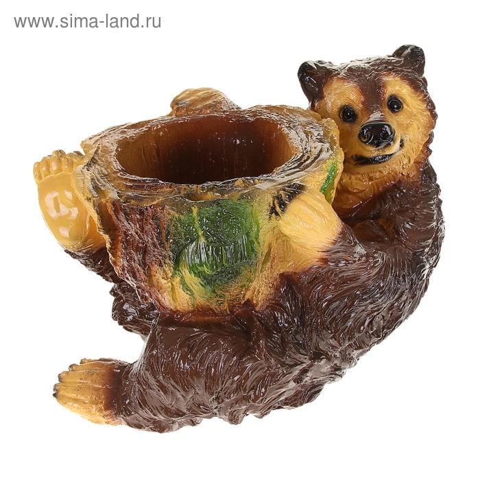 """Фигурное кашпо """"Медведь с пнём"""""""