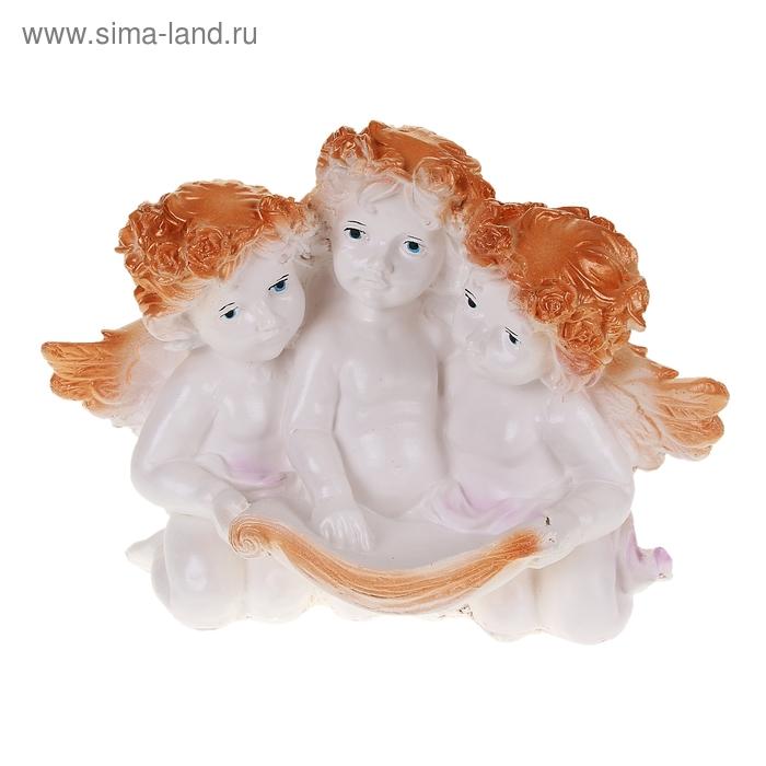 """Сувенир """"Трое ангелочков"""" бело-золотой"""