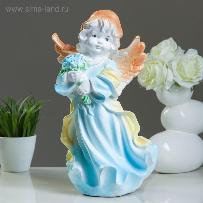 """Статуэтка """"Ангел в платье с букетом"""" бело-голубой"""