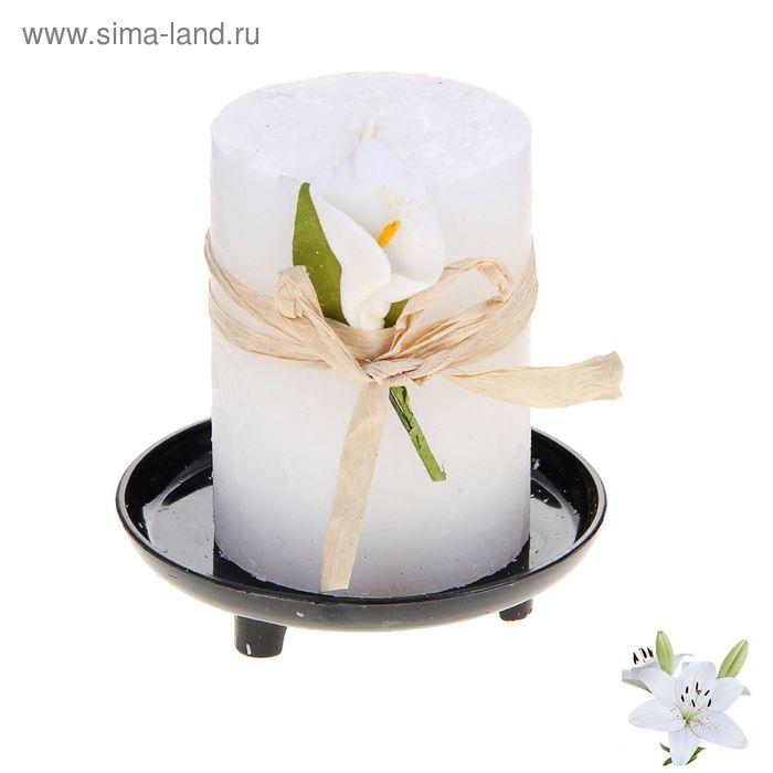 """Свеча восковая на подставке """"Иней"""", аромат лилия"""