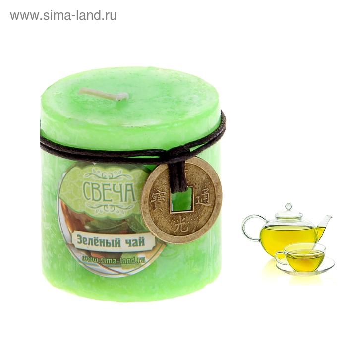 "Свеча восковая ""Монета"", аромат зелёный чай"