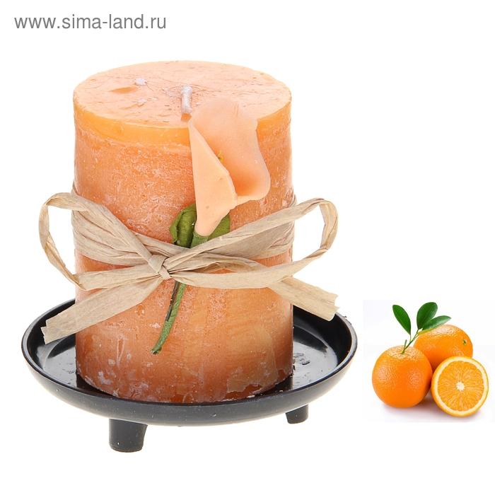 """Свеча восковая на подставке """"Иней"""", аромат апельсин"""