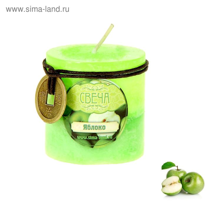 "Свеча восковая ""Монета"", аромат яблоко"