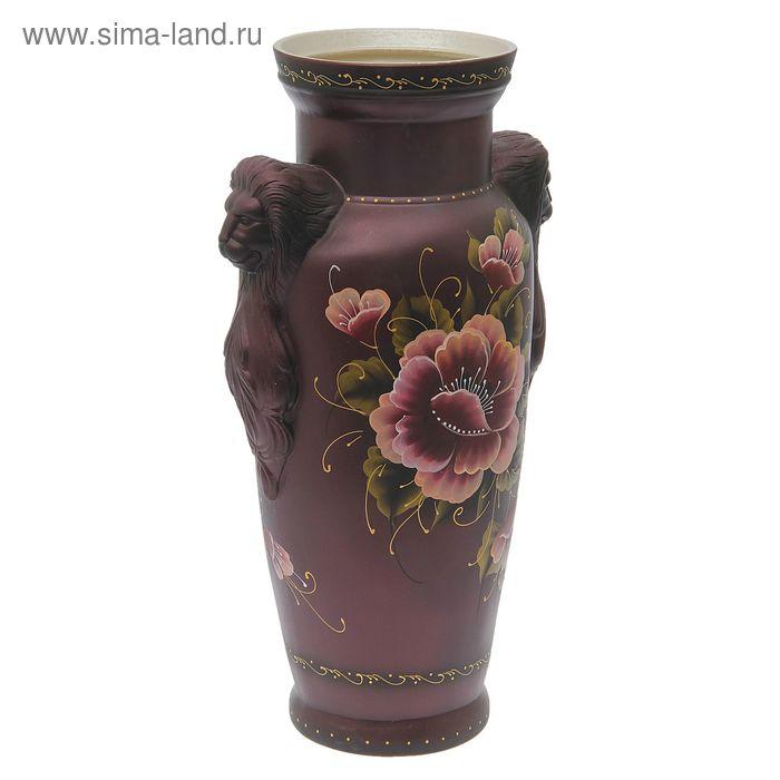 """Ваза напольная """"Дора"""" цветы, бордовая"""