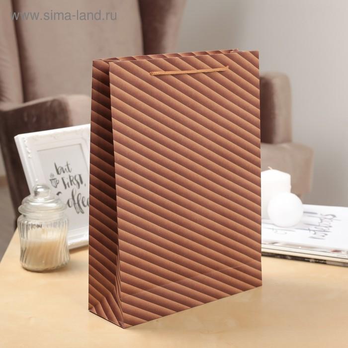 """Пакет крафт """"Диагональ"""", цвет коричневый"""