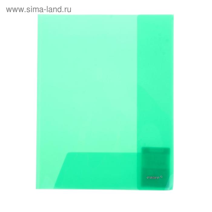 Папка-уголок A4, с 2-мя внутренними клапанами прозрачная зеленая 0,30мм