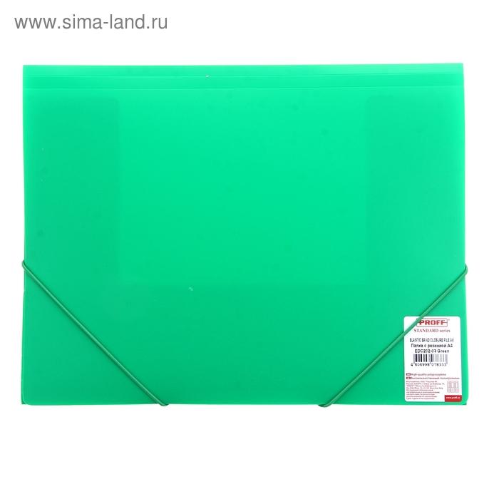 Папка на резинке А4 Proff. Standard непрозрачная зеленая 0,45мм