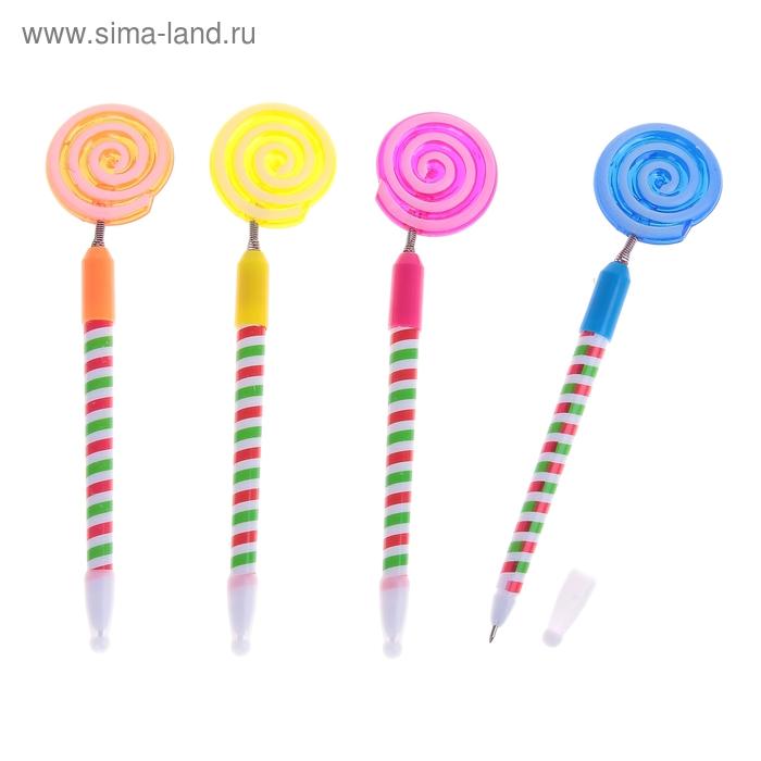 "Ручка с подсветкой ""Леденец"" на пружинке, цвета МИКС"