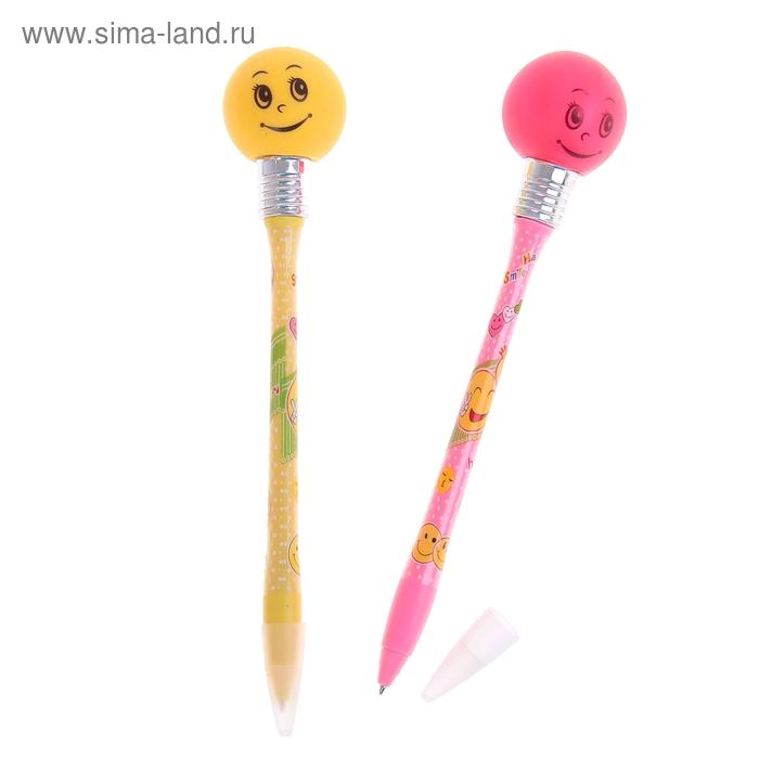 """Ручка с подсветкой """"Смайлики"""", горит от удара, цвета МИКС"""