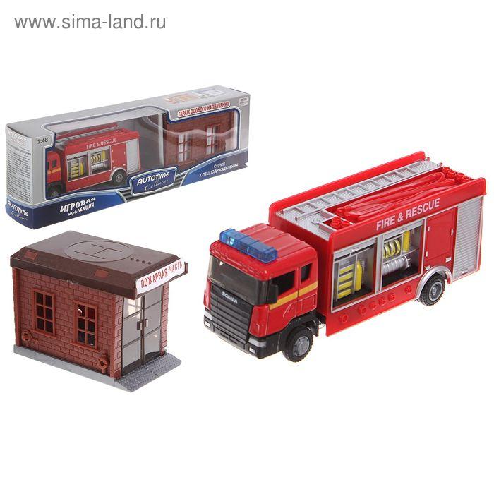 """Модель пожарной машины 1:48 """"Scania"""" с гаражом"""