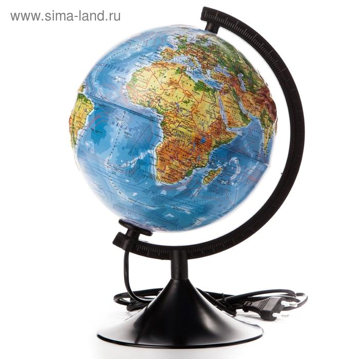 """Глобус физико-политический рельефный диаметр 210мм """"Классик"""" с подсветкой"""