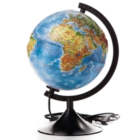 Глобус физический рельефный диаметр 210мм 'Классик' с подсветкой Ош
