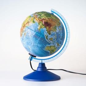 """Глобус физико-политический рельефный диаметр 250мм """"Классик Евро"""" с подсветкой"""