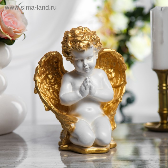 """Сувенир """"Ангел молящийся"""" средний, белый с золотым"""