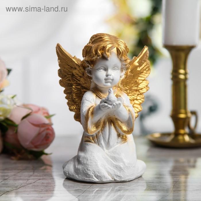 """Сувенир """"Ангел с птицей"""" белый с золотым"""