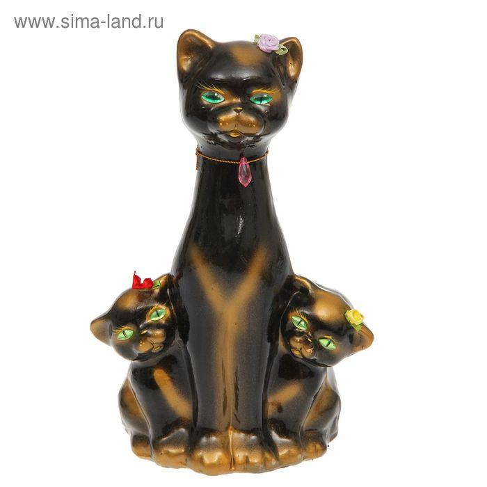 """Копилка """"Кошка с котятами"""" глянец, чёрная, задувка золото"""