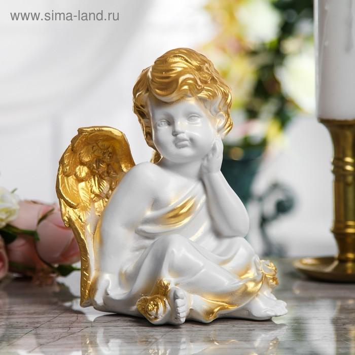 """Статуэтка """"Сидящий ангел"""" малая, бело-золотая"""