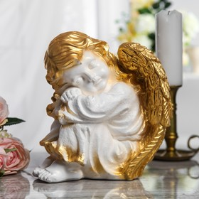 """Сувенир """"Спящий ангел"""" белый с золотом"""