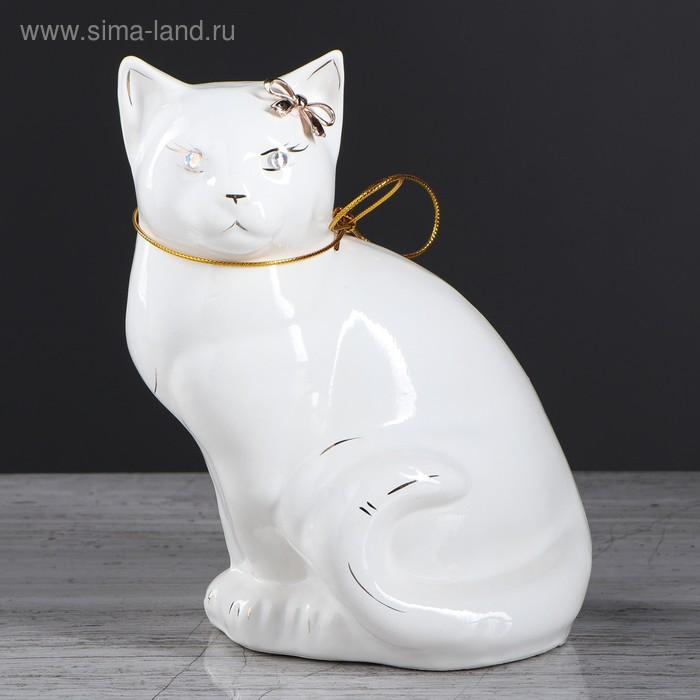 "Копилка ""Кошка Мурка"" глазурь, белая, бронза"